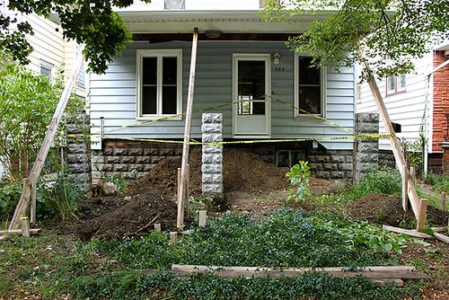 porch demolition in progress