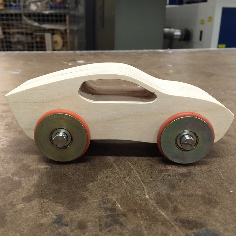 CNC'd Toy Car with Steel Wheels