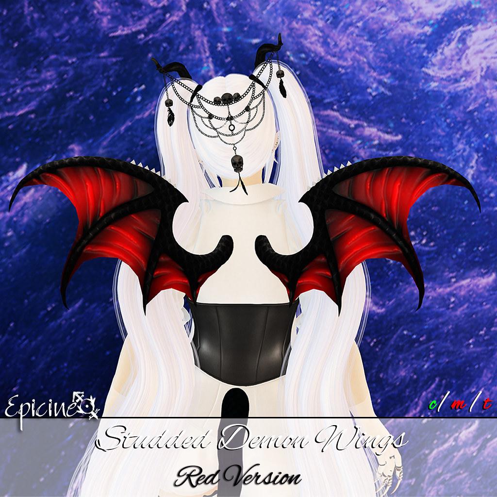 Epicine - Studded Demon Wings - Red - SecondLifeHub.com