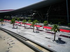 Shaded walkway approaching Ferrari World, Yas Island