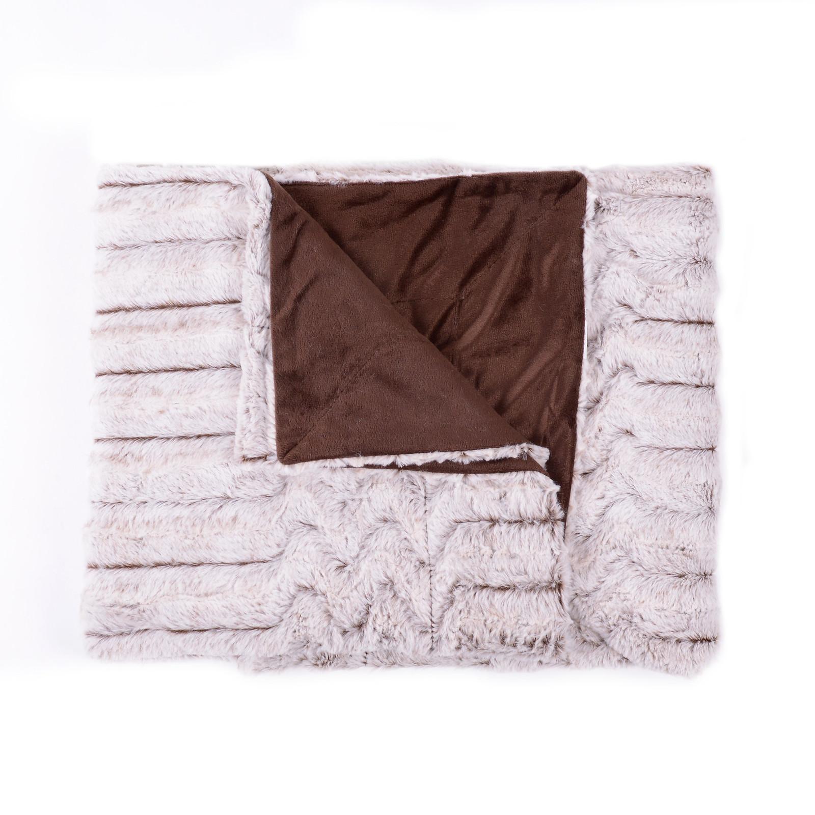 decorative reversible faux fur mink throw blanket 50 x 60 wave pattern ebay. Black Bedroom Furniture Sets. Home Design Ideas