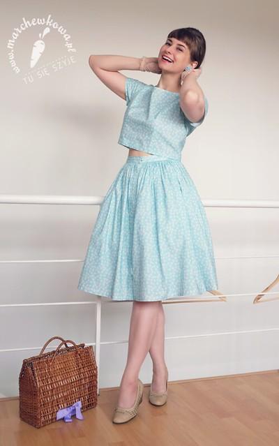 marchewkowa, szafiarka, szycie, krawiectwo, diy, Butterick 5605, letni komplet, summer playsuit, cotton, cottonbee.pl, pattern, sewing, retro, vintage, 60s