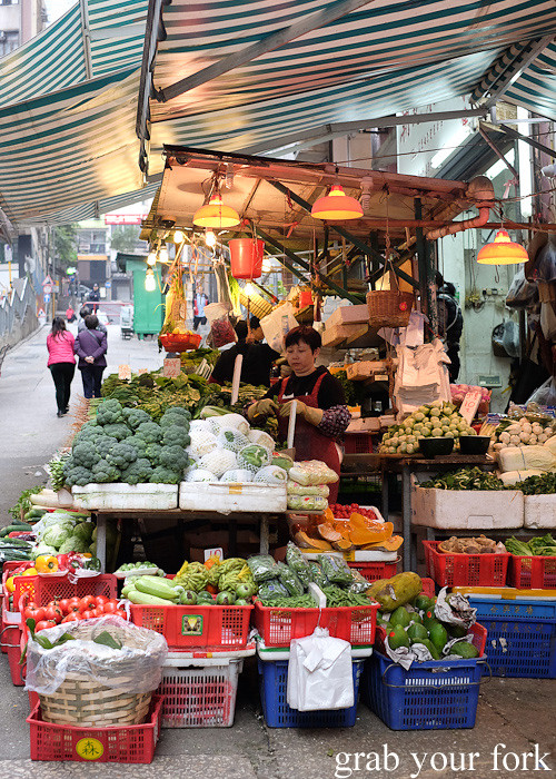 Fruit and vegetable stall on Graham Street in the Central district, Hong Kong