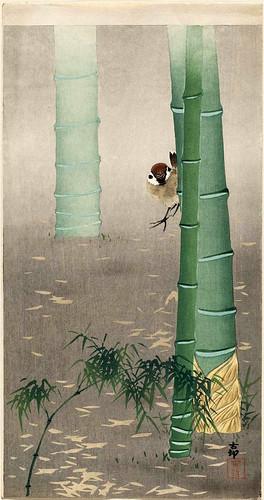015-Gorrien y tallos de bambu-Ohara Koson -via-Ukiyu-e-org