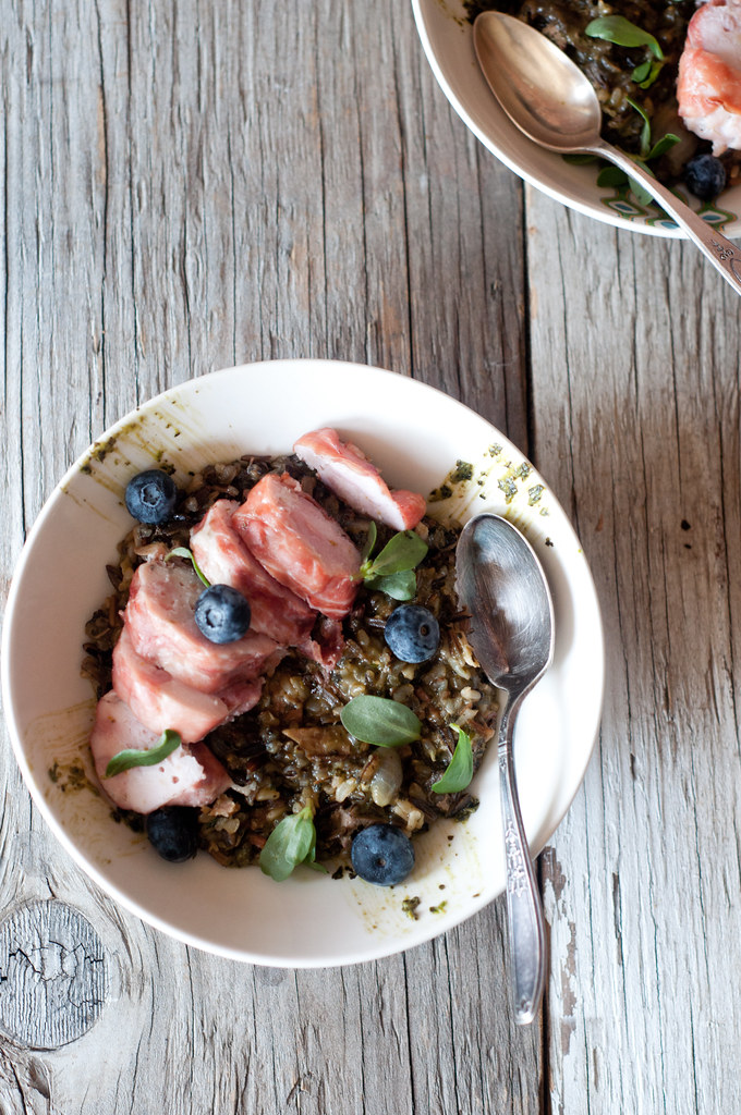 Rice, Sausage, pesto, Berries
