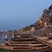 5:16am: A boatman stretches, Varanasi
