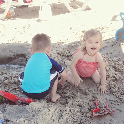 These two couldn't get enough of the sand! #firstbeachtrip #grovesvacay2014