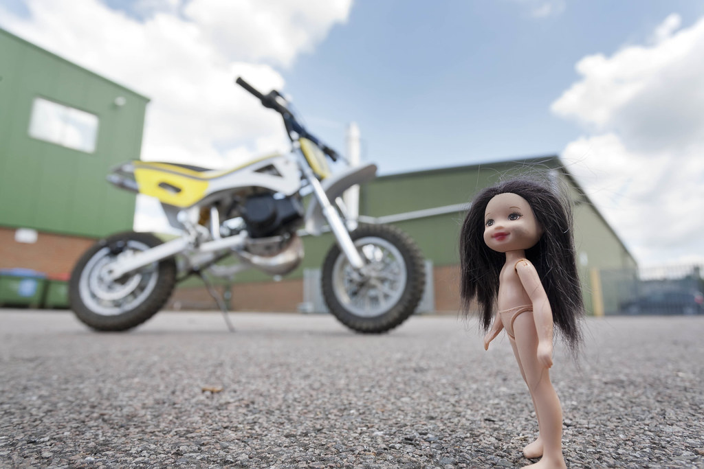 Naked Girl tries out a Mini Moto