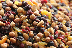 Nuts, raisins, trail mix, market, almonds
