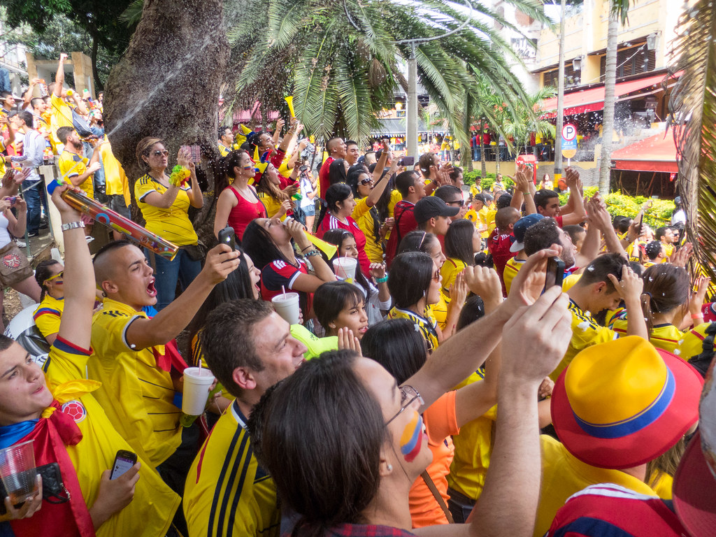 Colombians sing their national anthem ahead of the Brazil match