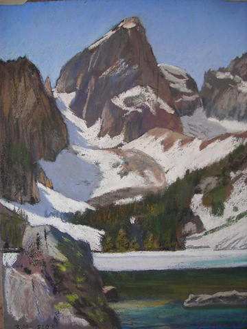 This 9 x 12 pastel was done on a spring day at Delta Lake, looking up at the East Ridge of the Grand, 4770 feet above. I had only intended to do a short hike to a spot where I did a pastel of Teewinot Falls. The day being pleasant I wandered up for a few hours more to this spot and was so inspired I had to do a picture. Since I was out of food and and was tired I didn't feel up to the task. However I'd forgotten my camera, so I knew whatever image I brought back would be what I could do in a couple of hours with my pastels. I was so thrilled to catch a nice image my elation was hardly dimmed by the fact that my van wouldn't start when I made it back to the parking lot. Some critter had chewed through my fuel line and all the gas was spilling on the ground!