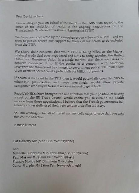 Sinn Féin Letter to Cameron