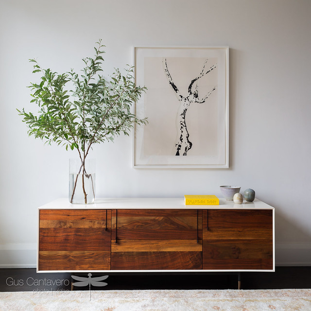 Wood face credenza and branches