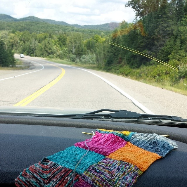 car knitting and hours (& HOURS) of driving to go!