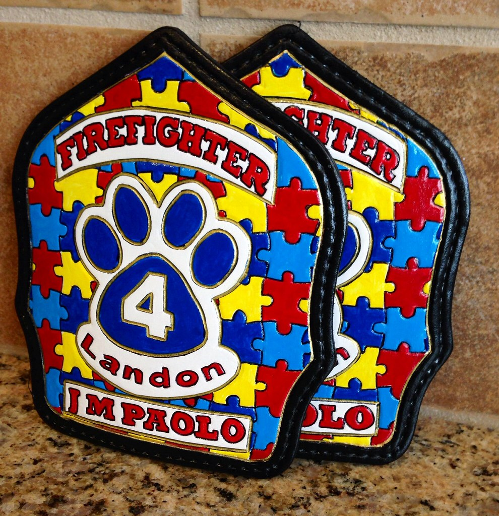 Autism puzzle fire helmet shields
