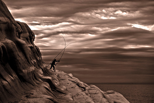 sunset sea bw italy white black silhouette clouds contrast blackwhite fisherman rocks rod scala sicily hdr dei turchi
