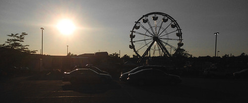 carnival sunset silhouette parkinglot ferriswheel iphone5