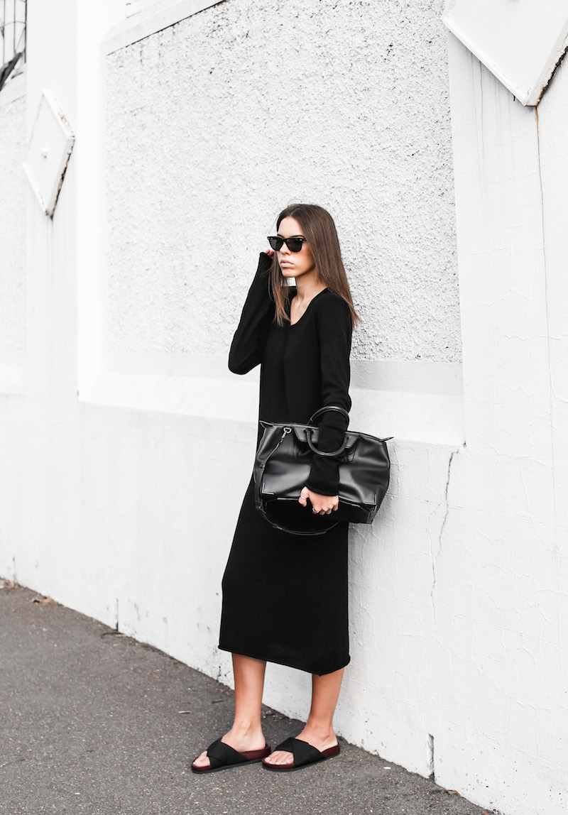 modern legacy fashion blog street style Celine cross slide sandals ugly trend Bassike knit midi dress fall Alexander Wang Prisma tote bag all black (5 of 9)