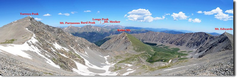 Looking down at Stephens Gulch from Grays Peak's summit 1-1