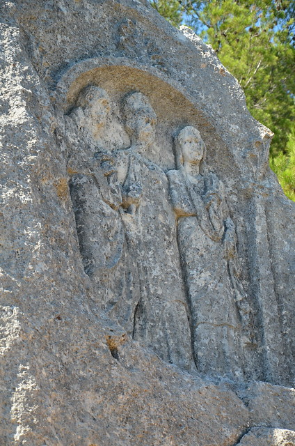 Les Trémaïé, bas-relief carved out from rock-cut hill depicting three Roman characters, it may represent Caius Marius and his wife Julia