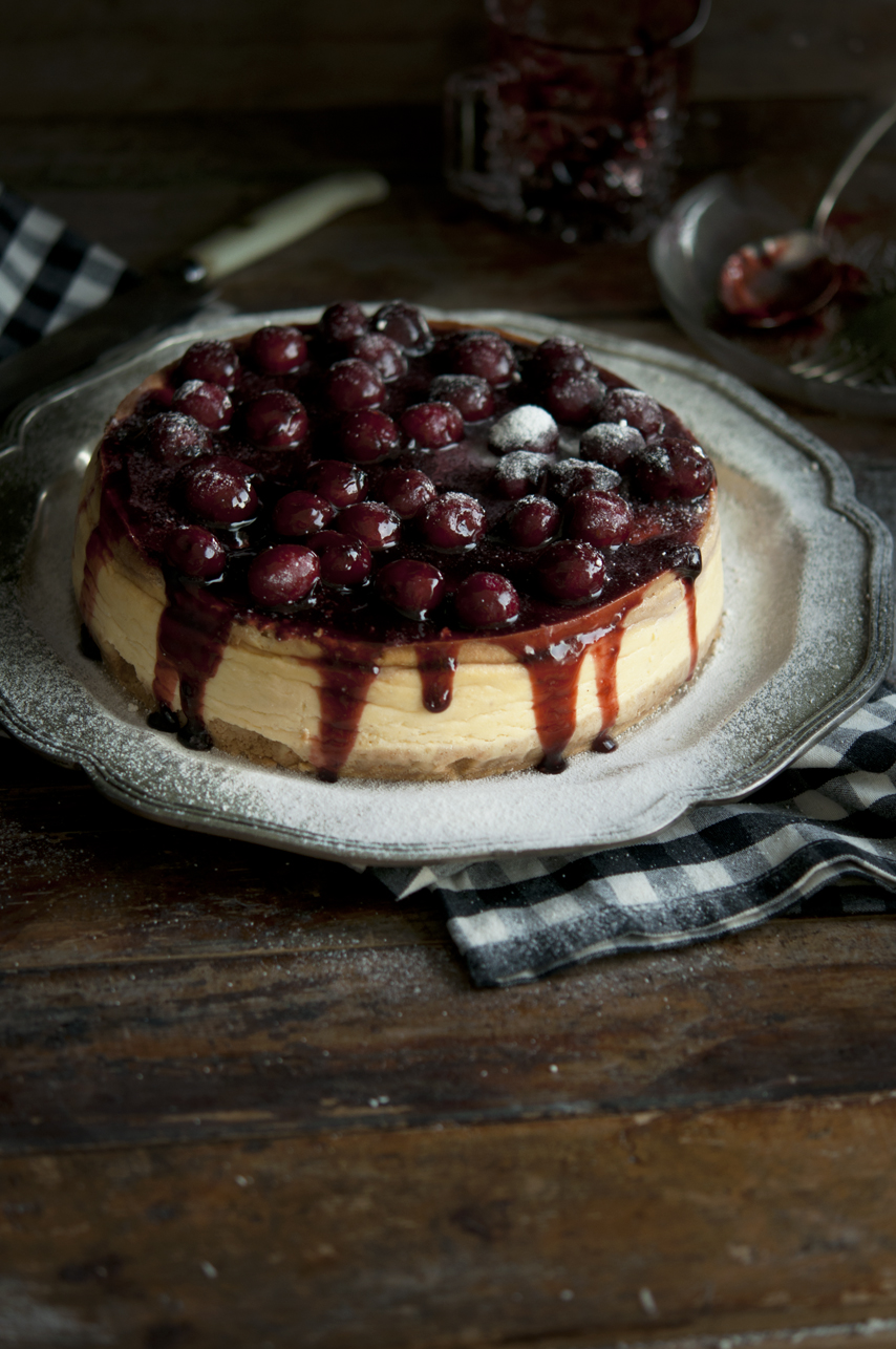 Baked Cheesecake with White Chocolate & a Cherry Topping