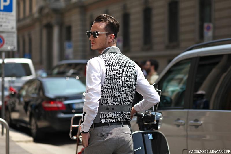Fashion blogger Henry, at MFW menswear