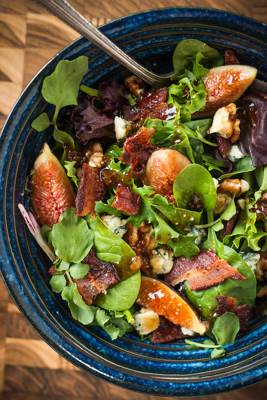 Fig, Bacon, & Blue Cheese Salad with Fig Balsamic Dressing | Will Cook For Friends