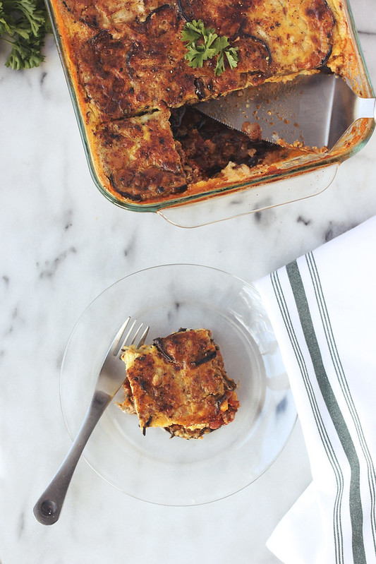 Lightened-Up Moussaka {Grain-free w/ Vegetarian Option}