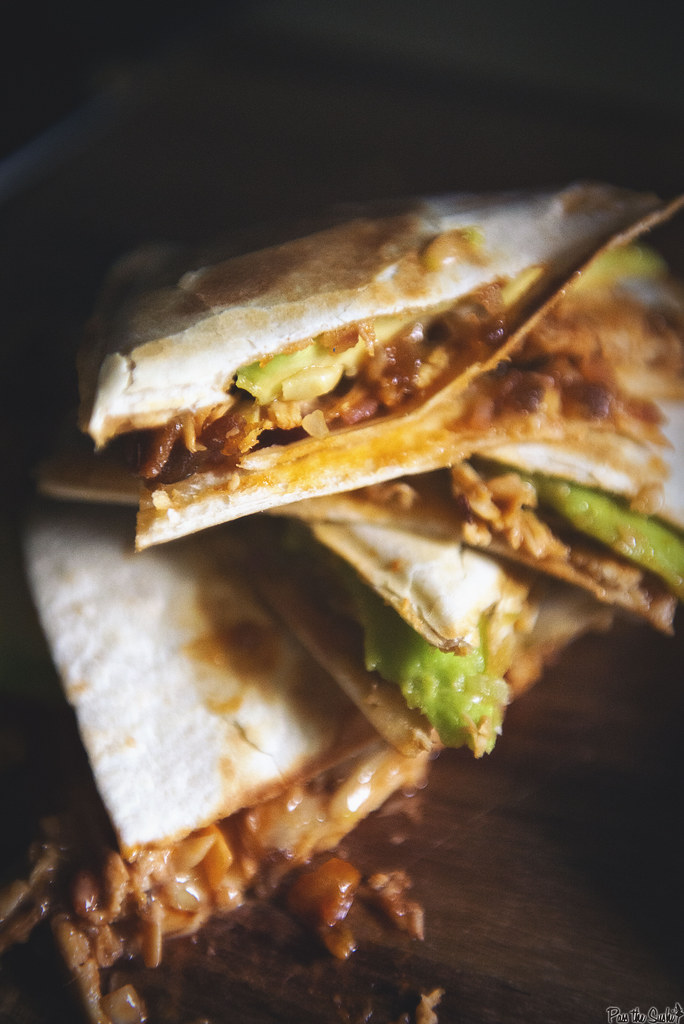 Zesty Ranch BBQ Chicken Quesadilla from GirlCarnivore.com