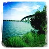 Aug 19 - over the top {I go over the top of this bridge every day, to & from work} #photoaday #overthetop #bridge #baybridge #bayofquinte #princeedwardcounty #hipstamatic #johns #dreamcanvas