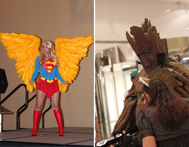 Super Girl and Groot Costumes