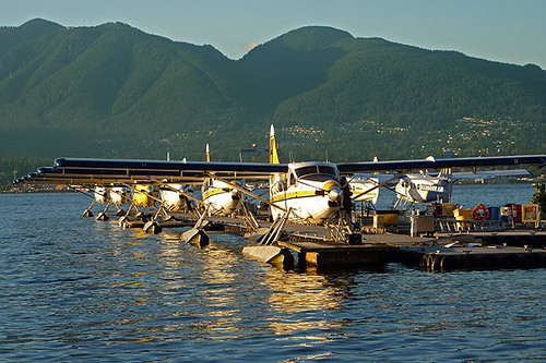 Floatplanes at Vancouver Harbour Centre, Vancouver, British Columbia