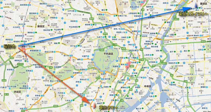 撮影場所の地図