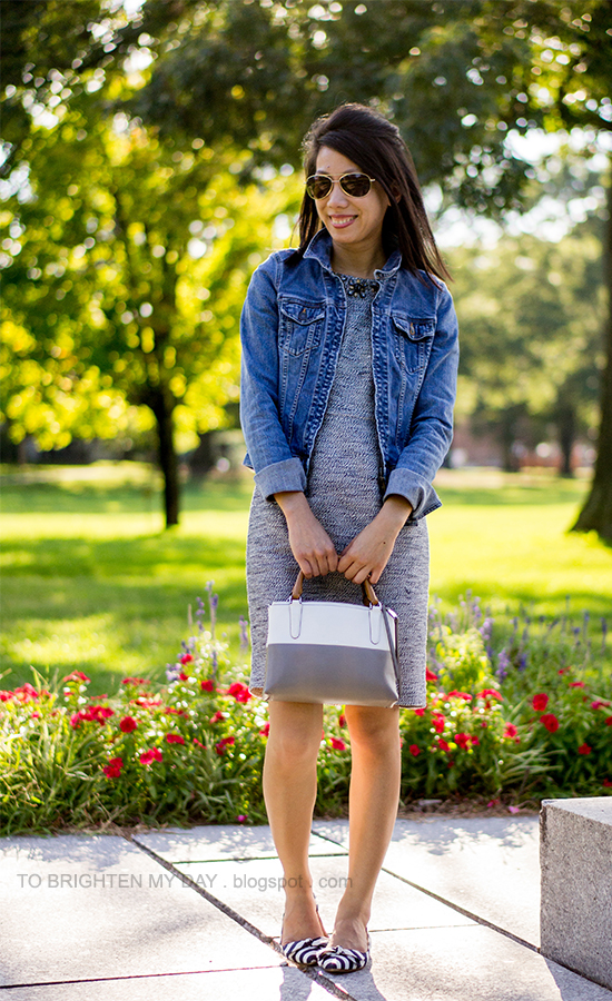 denim jacket, jeweled tweed dress, colorblock bag, striped flats