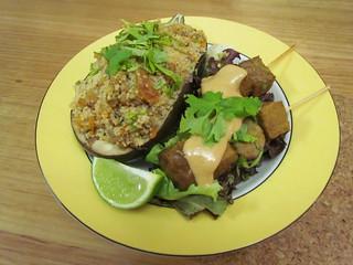 Couscous Stuffed Eggplant; Eggplant Tempeh