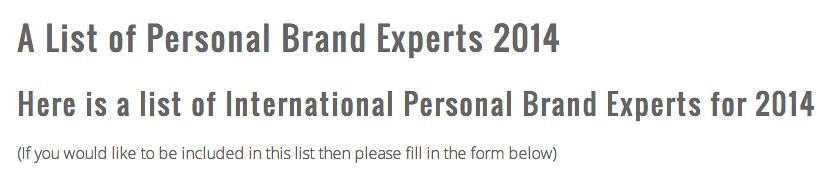 A List of Personal Brand Experts 2014 Fadhila brahimi Personal Branding