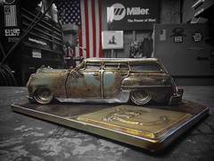 Side profile, @iconcustoms Derelict Chrysler Desoto wagon. See sculpture at the SEMA Art Walk this year in the Skybridge.