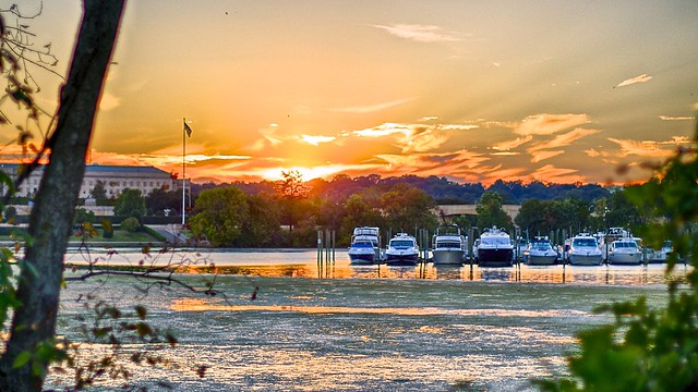 Early-Fall sunset over the Pentagon Lagoon Yacht Basin