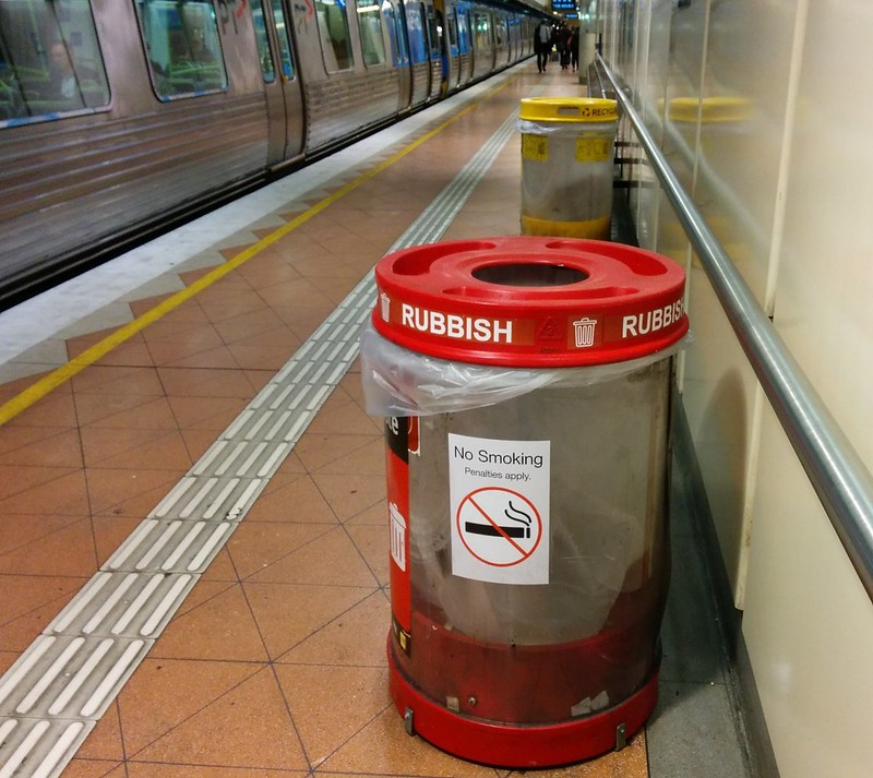 Transparent rubbish bins, Flagstaff station