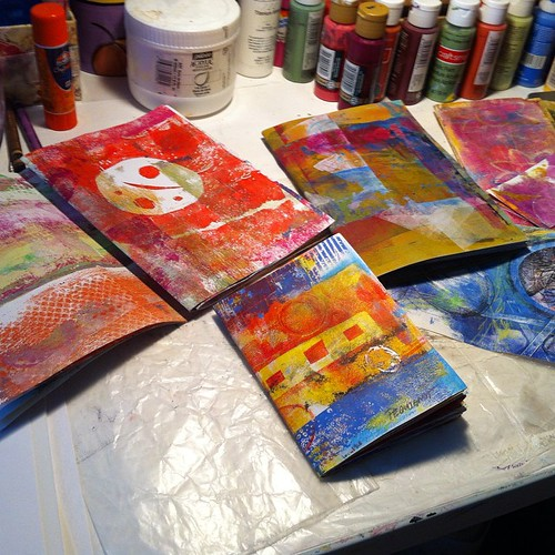 Making art journals from gelli printed papers. #artjournaling #gelliarts #bookmaking #handmadebooks #journals #art