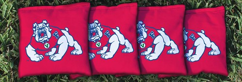 FRESNO STATE BULLDOGS RED CORNHOLE BAGS