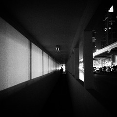 Pedestrian sidewalk tunnel in Sheikh Zayed Road. #noir #blackandwhite #street #dubai