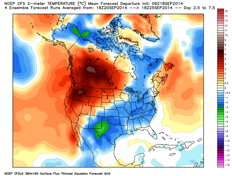 CFSv2 7 day temperature anomalies