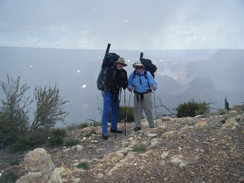 We began our descent in a snow flurry.