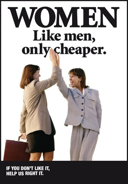 Two women high-fiving. 'Women: Like Men, Only Cheaper""