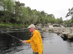 The Docs son Robert fishing the Einig Pool.