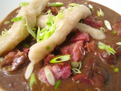 JAMAICAN BLACK BEAN SOUP WITH SMOKED HAM HOCKS AND SPINNERS      @ Home by Hans susser