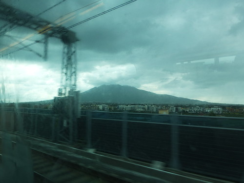Rain over Vesuvius as we arrive by train