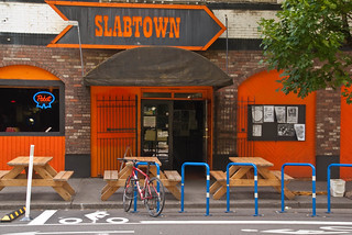 21454 Bike lane and bike parking corral in front of Slabtown, venue for Broadway Calls show