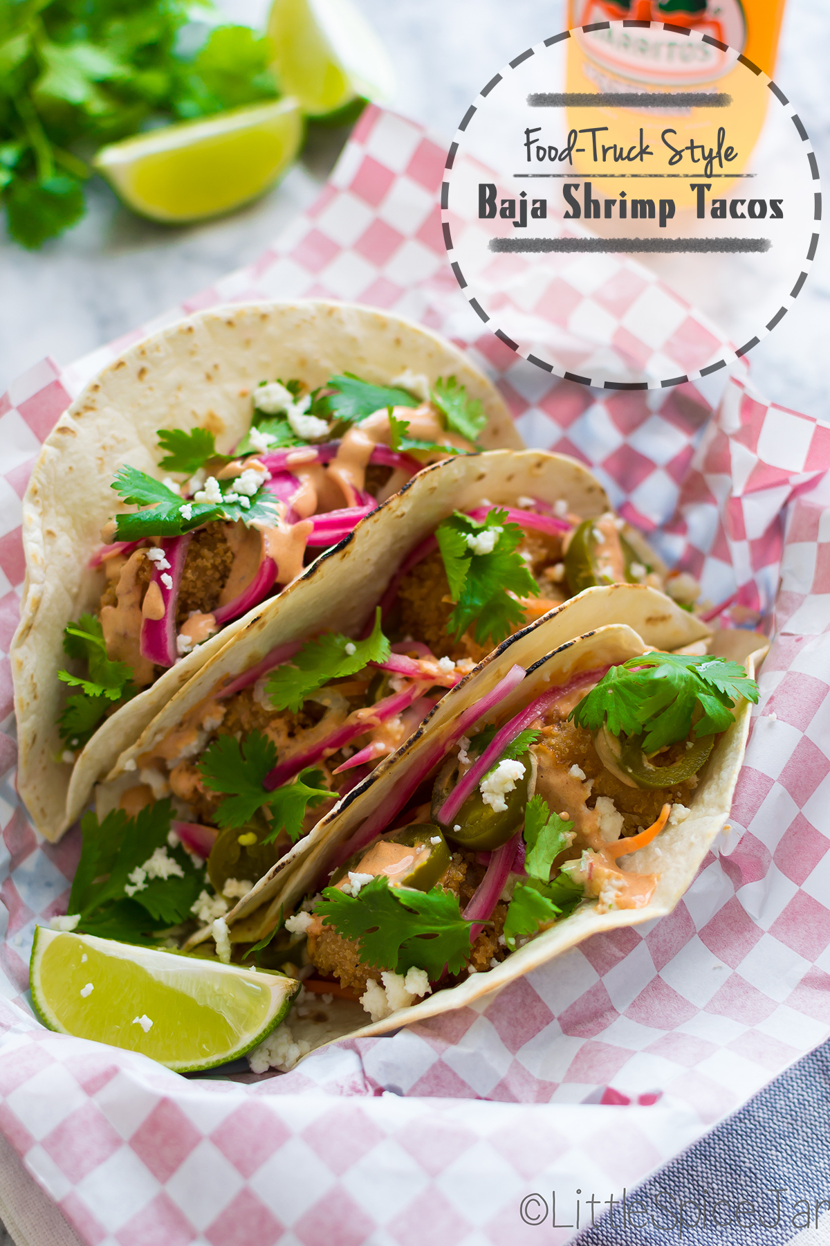 {Food Truck Style} Baja Shrimp Tacos with Chipotle Mayo